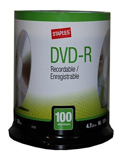 Staples 100/Pack 4.7GB DVD-R Spindle ( 12735 ) ~ Free Shipping