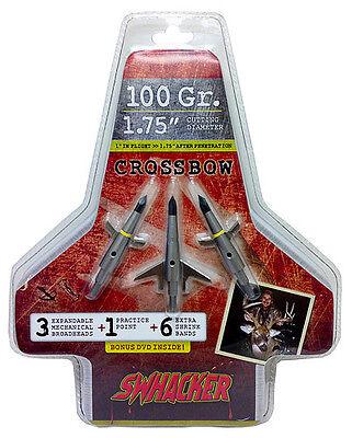 "Swhacker 100 Grain Crossbow Broadhead w/Practice Head 1 3/4"", 3 Pack"