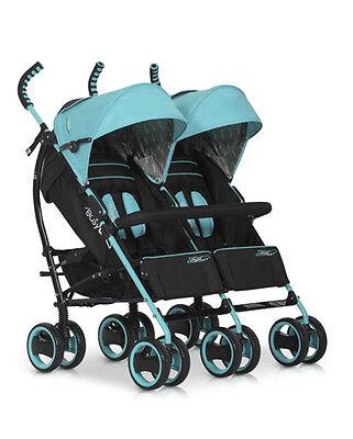 NEU OVP ALU Zwillingswagen Geschwisterwagen Kinderwagen Duo Comfort Malachite