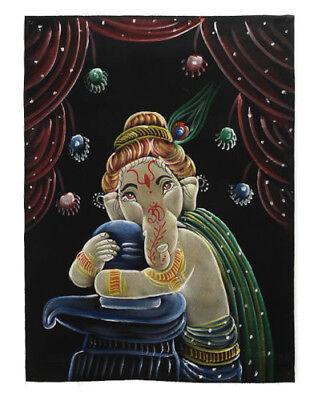 Batik Fabric Ganesh Elephant Painted 70x52cm Handmade 12