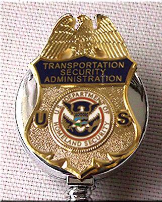 TSA ID Holder Enameled Gold on Silver Retractable DHS