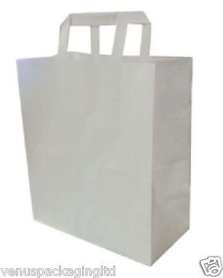 50 White 13 x 10 x 4.5'' SOS Medium Kraft Paper Food Takeaway Carrier Bags