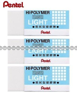 Pentel Ain Hi-polymer Plastic Eraser 43x17.5x11.5mm X 3 Pcs - Blue Zel-05