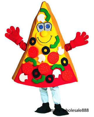 Pizza Mascot Costume Suit Advertising Restaurant Fancy Adults Size Dress Cosplay