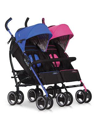 NEU OVP ALU Zwillingskinderwagen Geschwisterwagen Duo Comfort Rosa-Blau 2016