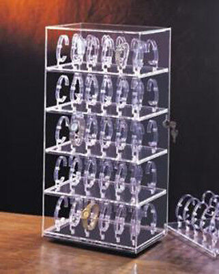 Rotating Watch Display Case Acrylic Cabinet Showcase Ccountertop Case 60 Watches