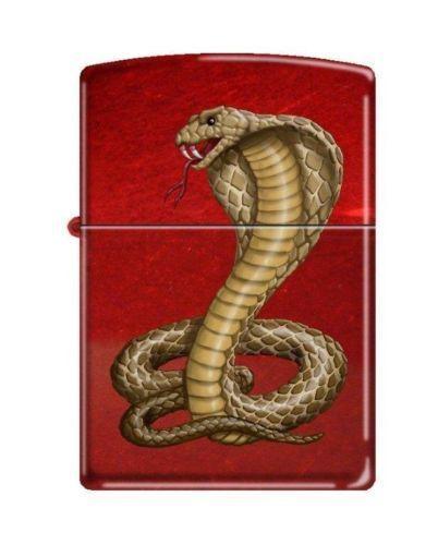 "Zippo 8951, ""Cobra Snake"" Candy Apple Red Finish Lighter"