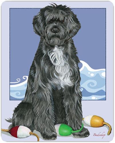 "Portuguese Water Dog Portie Dog Cutting Board Tempered Glass 8"" x 10"""