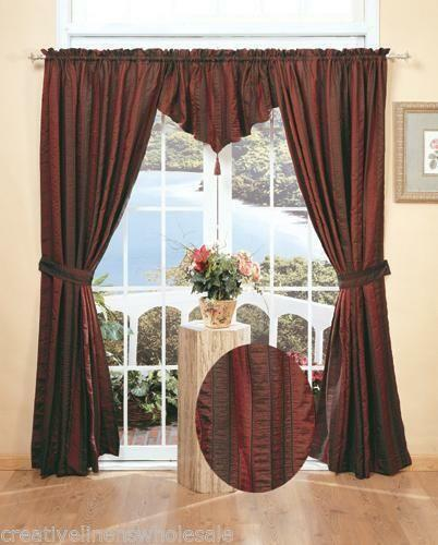 Red Stripe Curtains Ebay