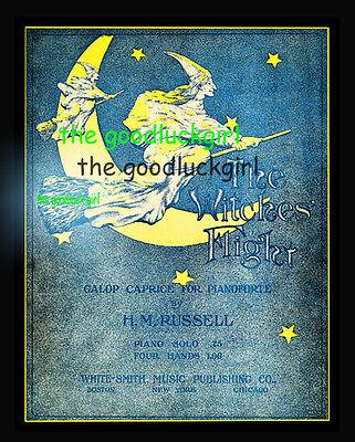 1903 WITCH FLIGHT 8x10 Vintage halloween sheet music cover Art print