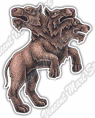 "Cerberus Hell Dog Tree Heads Beast Myths Car Bumper Vinyl Sticker Decal 3.7""X5"""