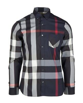 Burberry London men's navy long sleeve casual check button down shirt s,2xl,3xl (2 Button Down Shirt)