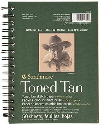 "Strathmore Spiral Toned Sketch Book 5.5""X8.5""-Tan 50 Sheets"