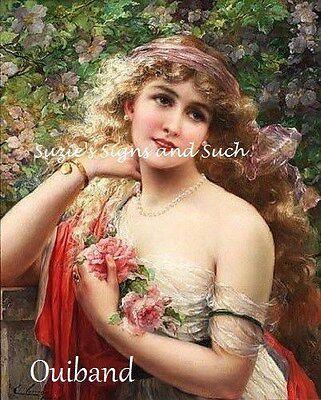 Victorian Woman Fabric Block Rose Bouquet Beautiful Long Auburn Hair ()