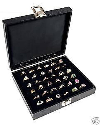 RING DISPLAY CASE SOLID TOP 36 SLOT JEWELRY TRAVEL NEW