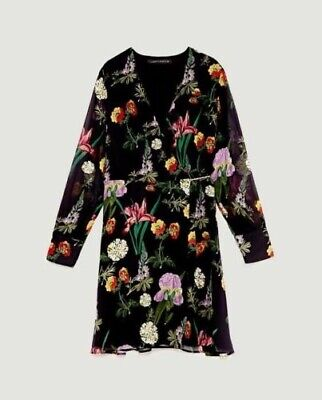 Zara SS17 Women Mini Floral Printed Long-Sleeve Wrap Dress Size M (Used)