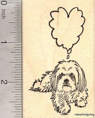 Shih Tzu Dog Rubber Stamp with Heart Shaped Thought Balloon  J18605 WM