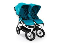 Bumble Ride Indie Twin Stroller with Extras - Carry Cot, Foot Muff etc.