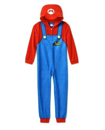 Nintendo Super Mario Hooded Union Suit Blanket Sleeper Size Medium 8 NWT