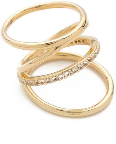 Elizabeth & James Elizabeth And James Woman Set Of Two Gold-tone Crystal Rings Gold Size 6 uA0N4mz