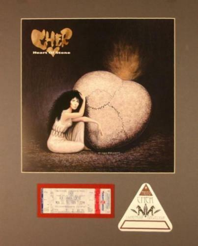 CHER 1989 HEART OF STONE TOUR MATTED POSTER, BACKSTAGE PASS & UNUSED TICKET