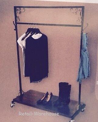 Clothing Rack Single Rail W Shelf Salesman Rolling 48 X 20 X 48-66 H Garment