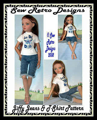"JIFFY Jeans & T-Shirt Pattern + Transfer for 16"" Size Fashion Dolls Ellowyne"