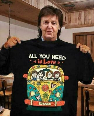 Beatles Hippie All You Need Is Love Men Shirt Cotton Printed in US Black Cotton Hippie Shirt