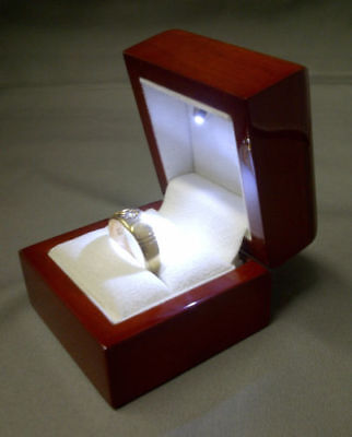 Real Wood Ring Box with LED Light. Cherry Wood Ring box for Valentines Jewellery ()