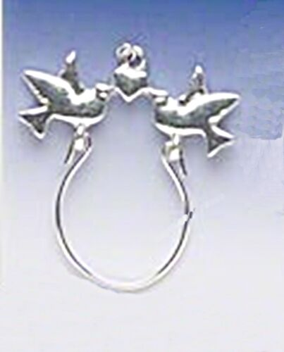 Birds with Heart Silver Finished Charm Holder Pendant for Trad or Clip-On Charms
