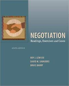 Negotiation Readings, Exercise and Cases 6th edition