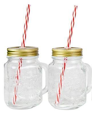 Mason Jar Mugs with Handle, Tin Lid and Plastic Straws. 16