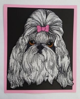 """Shih Tzu  Dog Embroidered Patch Approx Size 6.5""""x8"""""""