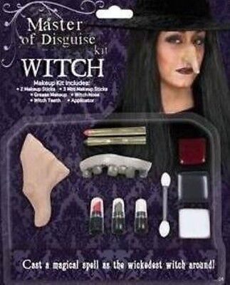 Witch Deluxe Make Up Disguise Kit Halloween Fancy Dress Face Paint Set P7280