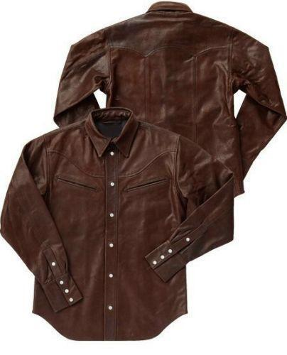 Mens brown leather shirt ebay for Mens shirts with leather