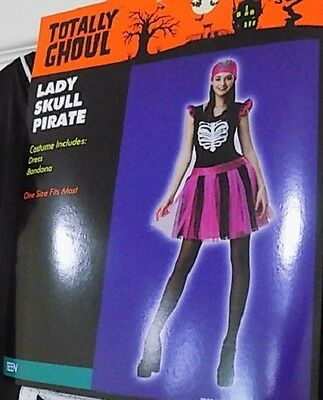 NEW Lady Skull Pirate Teen Girl Dress Costume Juniors One Size Pink - FREE SHIP - Pink Lady Girls Costume