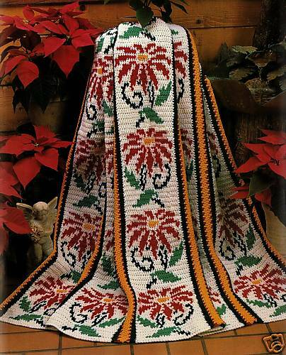 CHRISTMAS Timeless Poinsettias Afghan/Crochet Pattern INSTRUCTIONS ONLY