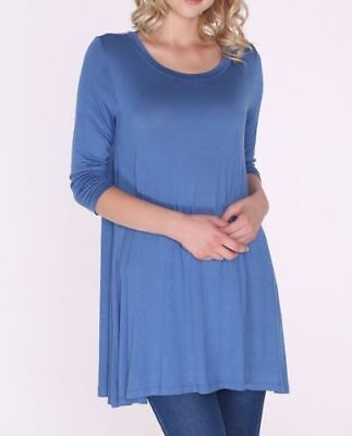 Womens 3/4 Sleeve Denim Blue Stretch Tunic Top Shirt Blouse Dress S M L 1X 2X