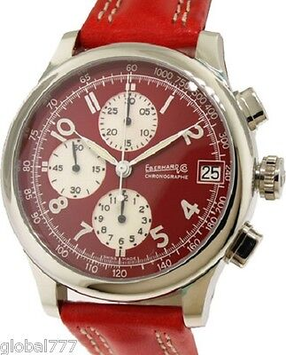 New Eberhard & Co Traversetolo 31051.5 Automatic Chrono Red Dial Leather Watch
