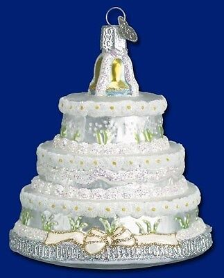 WEDDING CAKE OLD WORLD CHRISTMAS GLASS BRIDAL TIERED PASTRY CAKE ORNAMENT 32017