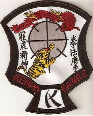 "LARGE SIZE ED PARKER AMERICAN KENPO KARATE CREST PATCH 6"" X 5"" - NEW"