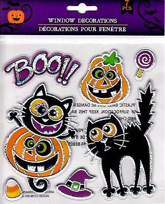 Halloween Window Cling Stickers 7 Count ~ Cats & Pumpkins BOO!  (Halloween Windows 7)