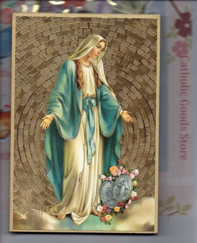 """Our Lady of the Miraculous Medal Gold Foil Mosaic Plaque (4"""" x 6"""")"""