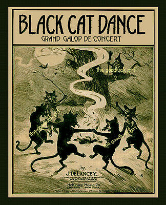 BLACK CAT DANCE 8x10 Vintage Halloween witch Art print