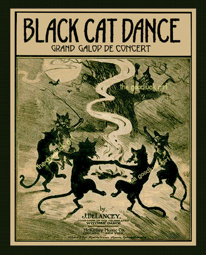 BLACK CAT DANCE 8x10 Vintage Halloween witch Art print