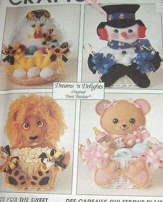 Dreams n Delights Treat Easter basket baby gift Pattern Chicken Lion felt teddy