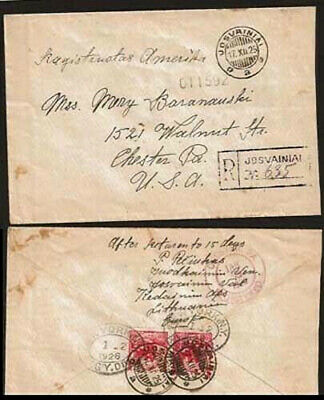 LITHUANIA; JOSVAINIAI > CHESTER, US; REGISTERED COVER (Rare town cancellation);