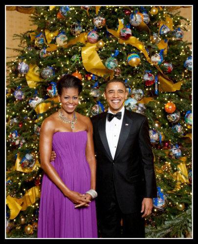 Barack Obama Michelle #2 Christmas Photo 8X10 - President Democrat Portrait