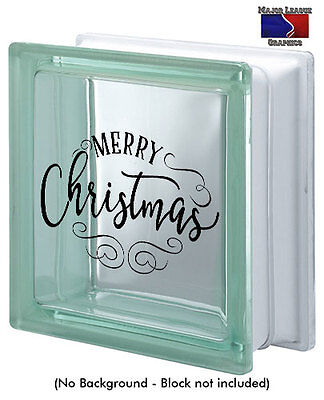 Merry Christmas Glass Block Decal Sticker Holidays Home Decor - Glass Block Decoration