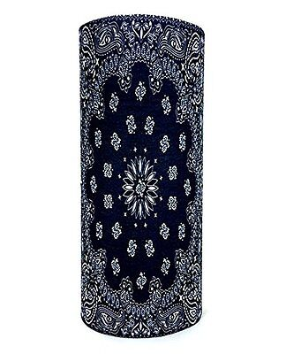 Traditional Black Paisley Seamless Tube Neck Warmer Face Mas